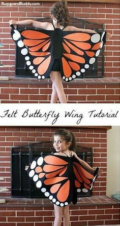 Felt Butterfly Wing Tutorial: Super easy DIY butterfly wings- make to resemble a monarch or any colorful butterfly! Makes a great…