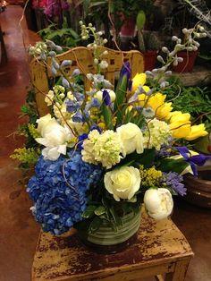 Blue Hydrangea, Yellow Tulips, White Peonies, White Roses, Blue Delphinium