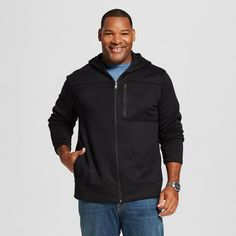 Men's Big & Tall Sweater Fleece Hoodie Black M Tall - Merona