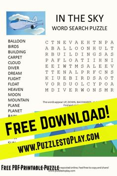 The Look in the sky word search word list might have you thinking about an item you saw in your sky today. The free download is a printable puzzle to play (and if you saw the moon today - we did too! Hooray!!) Free Word Search Puzzles, Free Printable Word Searches, Free Printable Puzzles, Free Printables, The Moon Today, Game Creator, Your Sky, Look At The Sky, Puzzle Books