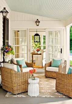 lovely porch i like turquoise or is it aqua but not in large amts. so this perfect, white, pillows and ceiling in turquoise.