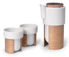 Tonfisk | Warm Tea Pot and Mugs: ceramic pot and cups wrapped w/ laminated bent wood