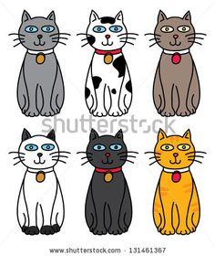 set of cute cat cartoon by mhatzapa, via Shutterstock