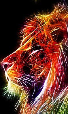Fractal Animals ~ 480 x 800 - Lion Wallpaper, Animal Wallpaper, Pattern Wallpaper, Fractal Images, Fractal Art, Tiger Art, Fractal Design, Lion Art, Colorful Animals