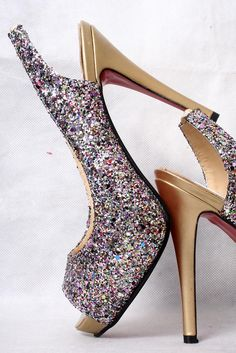 Louboutin glitter sling backs
