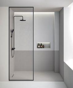 The Limite shower tray in the Product Design category Minimalist Showers, Minimalist Bathroom Design, Modern Bathroom Design, Bathroom Interior Design, Minimalist Design, Behindertengerechtes Bad, Small Bathroom, Master Bathroom, Toilet Design
