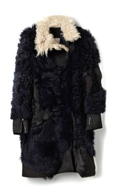 Mongolian Long Hair Patchwork Shearling Coat With Detachable Biker Cuffs by 3.1 Phillip Lim