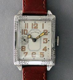 Illinois Wrist Watch--Restored-Art Deco-Rectangle-6/0 Size-USA-Vintage 1928