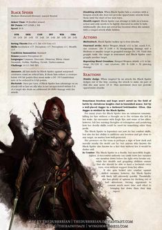 Black Spider (Black Widow) - Imgur Dungeons And Dragons Classes, Dungeons And Dragons Characters, Dungeons And Dragons Homebrew, Dnd Characters, Fantasy Characters, Gerardo Gonzalez, Dnd Stats, Dnd Dragons, Dnd Races