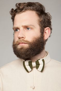 knitted - the green and tan striped bow tie