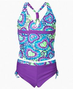 Breaking Waves Kids Swimsuit, Girls Racerback Tankini - Girls 7-16 - Girls - Macys.  would have to check depth of v neck.