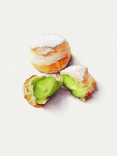Big Qu ava | dessert watercolor illustration - green tea cream puffs