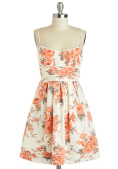 What Friends Are Floral Dress - Cream, Multi, Floral, Pleats, Daytime Party, Fit & Flare, Spaghetti Straps, Sweetheart, Graduation, Spring
