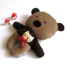 Teddy bear plushie handmade rag doll toy