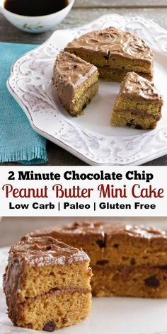 2 Minute Chocolate Chip Peanut Butter Mini Cake - Low carb, gluten free & paleo version