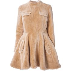 J.W. Anderson dress (2 935 PLN) ❤ liked on Polyvore featuring dresses, vestidos, beige dress, j.w. anderson, j.w. anderson dresses and faux fur dresses