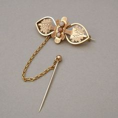 Antique #VICTORIANBrooch GOLD Filled Pink White Beads Engravings SAFETY Chain c.1870s, #Valentine for Her