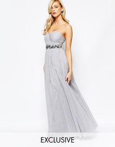 Image 1 ofLittle Mistress Bandeau Embellished Maxi Dress With Tulle Skirt
