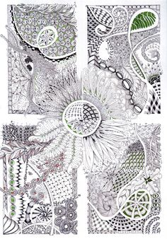 Zentangles by Shelly Beauch - 4 quarters brought together to make  one large creation! wow!