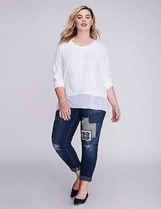 "Patchwork perfectly complements this boyfriend jean's laid-back vibe. 5 pockets. Button & zip fly closure.<br /> <br /> <strong>LEG SHAPE:</strong> Boyfriend (Relaxed from hip through knee. Slightly tapered at calf. Rolled cuff.)<br /> <strong>RISE:</strong> Low (At natural waist.) <strong>INSEAM:</strong> Regular 29"" (rolled)  lanebryant.com"