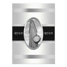 Flatiron Building  White Silver BW RSVP 2 Personalized Invitation