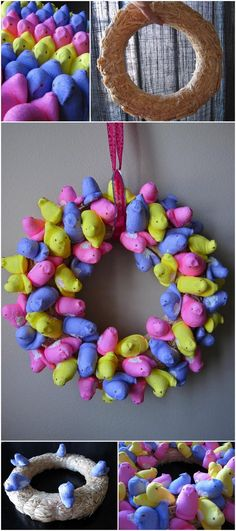 What's not to love about a Peeps Wreath?!  (I might hang it on an interior door so later I can eat the deliciously stale Peeps!  Did I just write that?  Yes.  Yes, I did.)
