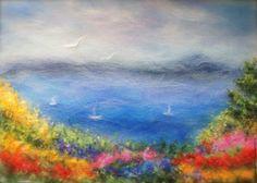 Купить Пейзаж- Море и цветы. - Яркий пейзаж, пейзаж, морской пейзаж, море, море картина