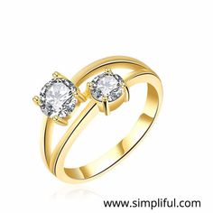 Double White CZ Stone Finger ring