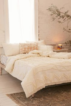 Shop Chloe Tufted Medallion Comforter at Urban Outfitters today. We carry all the latest styles, colors and brands for you to choose from right here. Room, Comforters, Gravity Home, Home, Cheap Home Decor, Bedroom Inspirations, Apartment Decor, Neutral Comforter, Bedroom