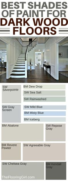 How to choose the best shade of paint and accent wall colors if you have dark hardwood floors. Which wall colors go best with dark hardwood flooring? Which paint shades are best for dark flooring and which paints should you use for accent walls? Best Paint Colors, Paint Colors For Home, Paint Colours, Best Wall Colors, Living Room Paint Colors, Foyer Paint Colors, Wall Colours, Stain Colors, Dark Colors
