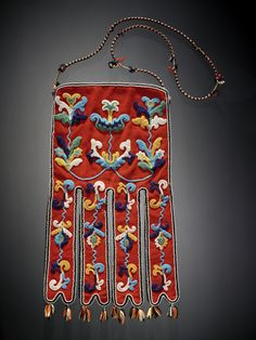 Octopus bag (Tlingit), circa 1910, Wool cloth, cotton cloth, glass bead/beads, silk ribbon, and wool yarn.