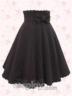 Black Pleated Bow Lolita Skirt