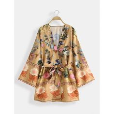 Bohemian Floral Print V Neck Belted Mini Dress Cardigans #minidress #FloralDress #Cardigans #Casualwear #bohodress #Bohemian #casualoutfis #gitfs #ValentinesDay #likeforlike #followme