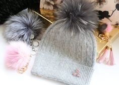 Beanie, Cashmere Wool Knit Blend Beanie Hat with Detachable Genuine Raccoon Fur Pom-Pom Gray Beanie and Gray Fur, NEW!