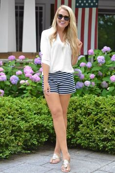@roressclothes closet ideas #women fashion outfit #clothing style apparel White Top and Striped Shorts via