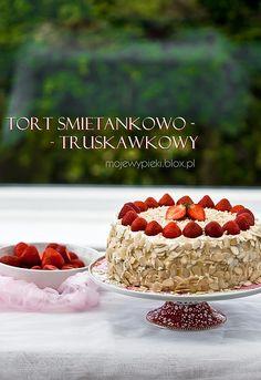 Tort śmietankowo - truskawkowy, najprostszy