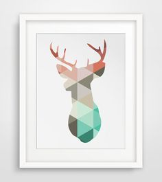 Coral & Mint Deer Head Print Deer Antlers by MelindaWoodDesigns, $5.00