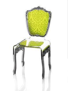 Chaise acrylique Baroque verte - Acrila