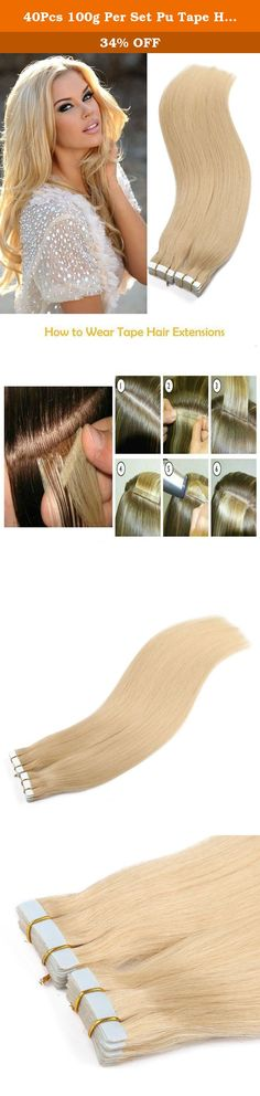 40Pcs 100g Per Set Pu Tape Hair Extensions Skin Weft Tape in Human Hair Extensions (16inch,Color 613#). Product Feature Material:100% Remy Human Hair Application:tape in /on Length:16-26 INCH Weight:100g/40pcs/pack Texture:Straight Skin Weft Tape Hair Extensions is very easy to apply and can be instantly applied to parted areas of the head. It is simple,completely invisible and giving all natural appearance. It looks like the hair is growing from your own scalp .The hair is hand sewn into…