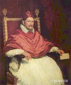 [교황 인노첸시오 10세의 초상] 1650  미간과 잘 다듬어지지 않은 수염, 붉은 기가 감도는 피부, 난폭해 보이기까지 하는 강렬한 시선, 고집스럽게 다문 입, 앞으로 약간 굽은 자세 등은 교황의 성격과 내면성을 효과적으로 정확하게 전달하고 있다. 벨라스케스는 바로크시대의 화가였지만 시대의 화풍에 얽매이지 않고 현실을 반영하는 태도를 계속 보여주고 있다.