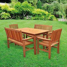 Tropicana 5 Piece Garden Set Patio Hardwood Table Chairs Tj Hughes