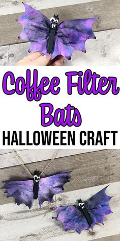 These Coffee Filter Bats are a cute Fun Halloween crafts for kids! These coffee filter bats are an easy Halloween craft for kids of all ages to make. They take about 20 minutes and use craft supplies you probably already have in your house. Theme Halloween, Easy Halloween Crafts, Fall Crafts For Kids, Fall Halloween, Fun Crafts, Craft Kids, Fall Toddler Crafts, Halloween Projects, Homemade Halloween Decorations