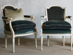 French velvet white wooden armchairs Circa: 1940