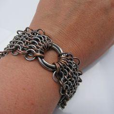 Sterling Silver and copper european steampunk bracelet, $282.00