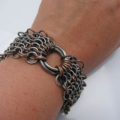 Sterling Silver and copper european steampunk bracelet, $282.00