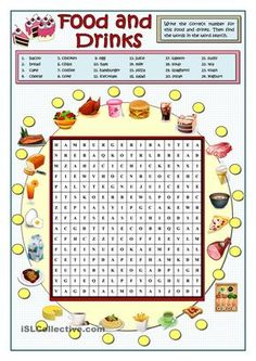 FOOD AND DRINKS WORDSEARCH