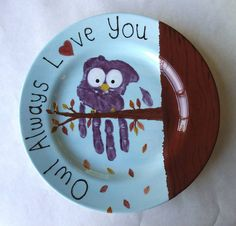 Owl Always Love You Plate painted by staff at Color Me Mine Saucon Valley PA