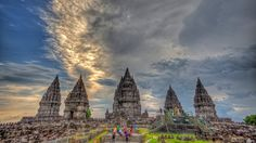 Prambanan is a ninth century Hindu temple compound in Central Java, Indonesia, dedicated to the Trimurti, the expression of God as the Creator (Brahma), the Sustainer (Vishnu) and the Destroyer (Shiva).