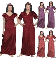 DESIGNER LADIES NIGHTIE SEXY SATIN CHEMISE ROBE LACE TRIM WOMENS NIGHTWEAR in Clothes, Shoes & Accessories, Women's Clothing, Lingerie & Nightwear | eBay