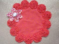 Bright Orange and Pink yo yo doily/mat with Kanzashi by SursyShop, $10.00